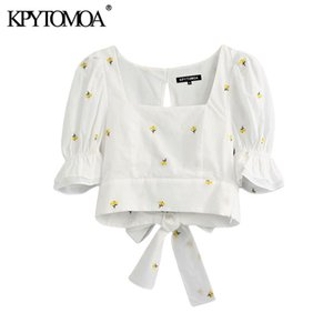 KPYTOMOA Women Sweet Fashion Floral Embroidery Cropped Blouses Vintage Pull Sleeve Back Bow Tie Female Shirts Chic Tops 200923