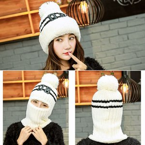 Winter Women Warm Pom Wool Hat Knit One Piece Scarf Hat Thicken Winter Windproof Face Mask Hat Knitted Outdoor Skiing Cap Bh2824 Tqq