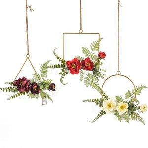 Início Garland Rattan Heart-shaped Garland Simulação Flower Wall Art Ornaments Wedding Car Pendurar Porta Party Decor