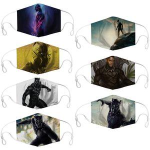 DHL 2020 Black Panther film Memorial Dijital 1pcs PM2.5 filtre maske ile ayarlanabilir yüz maskesi toz sis maskeleri Tasarımcı maskeler baskı
