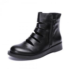 YourSeason из натуральной кожи женщины Рим Zip сандалии 2020 Новых Повседневной дама ретро Шитья Hollow ручной работы Летняя Boots Flat С