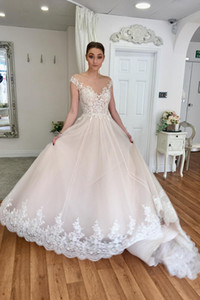 Elegant See Through Neckline Bride Dress Fashion Cap Sleeve A-line Long Wedding Party Dress Custom Made