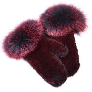 F норка мех тканый указала женщину из меха норок упругой сплошного цвета двухсторонней шерсти LANYARD и перчатка шерсти перчатки TKlxb