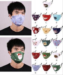 Máscaras del partido de Navidad de moda de Santa patrones de impresión de algodón lavable reutilizable mascarillas adultos boca de mufla cubierta Sin Filtro FY4262