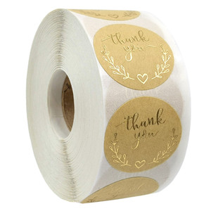 Rund Kraft Paper Folie Danke Aufkleber Sealing Lable Aufkleber 500 Stück pro Rolle Dekoration Aufkleber Verschiedene Optionen