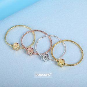 DORANPS WAR HORSE Collections femmes bracelet en or 18 carats 925 perles d'argent pour la chaîne serpent bracelet pandora cadeaux bijoux braclet