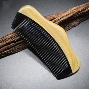 10pc / lot Cep Saç Sakal Tarak Tepesi Şekli Yeşil Sandal Ağacı Vücut Buffalo Horn İnce Diş Saç Bakımı Şekillendirme Aracı Anti Statik Kid Aşk Bu