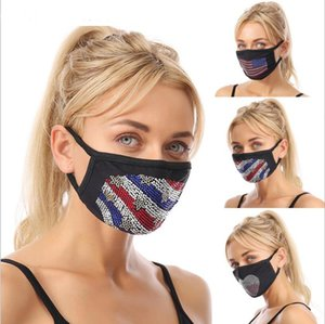 Bling masque visage strass Styliste Paillettes Facemasks femmes masque de coton de forage Flash pour les femmes adultes en tissu noir masque mascarilla