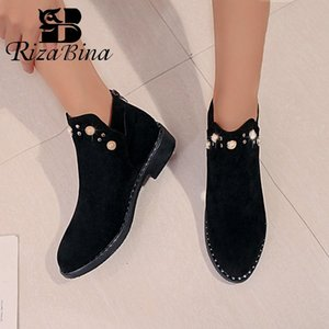 RIZABINA Women Beads 2020 Fashion Winter Ankle Boots Casual New Shoes Women Thick Bottom Pointed Toe Boots Footwear Size 35-40