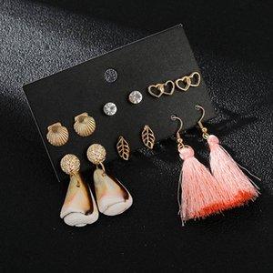 Ethnic Boho Sea Shell Cowrie Statement Dangle Earrings For Women Trendy Golden Metal Heart Leaf Earrings 2020 New Party Jewelry