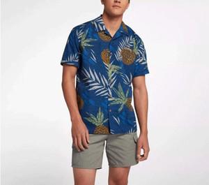 블루 꽃 무늬 블라우스 남성면 인쇄 짧은 소매 하와이 셔츠 캐주얼 비치 의류 파인애플 잎 여름 빅 플러스 사이즈