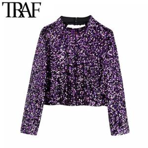 Backless atractivos TRAF vendimia de las mujeres de la lentejuela recortada Blusas Moda cuello alto manga larga Party Mujer Camisas Tops elegantes