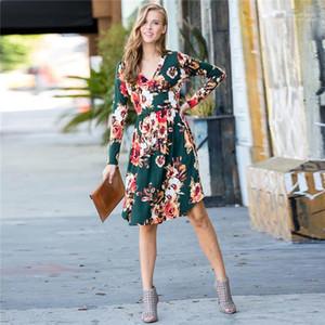 ملابس نسائية الخريف سليم انن طباعة الزهور فساتين V الرقبة كم طويل موضة نمط شاطئ أنثى