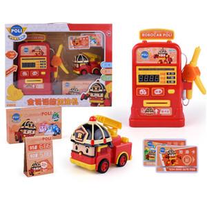 Regalos de la figura de acción de Corea Robocar Poli Coches gasolinera ámbar Roy Modelo Niños animado Light Music juguetes para los niños