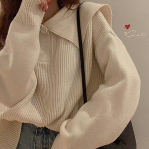 Sweater Women Autumn Winter Long Sleeve Turn Down Collar Korean Vintage Jersey Mujer Elegant Pull Femme Nouveaute 2019