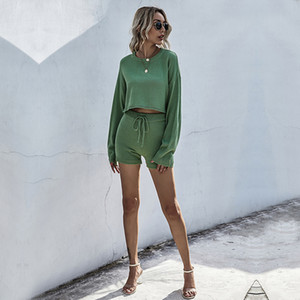 Autumn Women's Fashion Hot Sale Solid Color Urban Leisure Suit Soft Knitwear Long Sleeve Crew Neck Lace Up Shorts Two Piece Sets