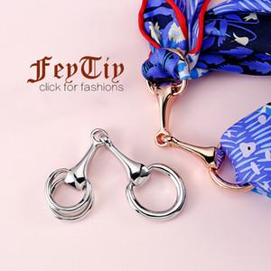 Luxus Seidenschal Ringe Damenmode Schals Schnalle 100% Kupfer mit Gold Plating-Frauen-Mädchen-Party-Geschenke Schmuck Accessoires