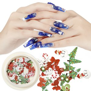 1 scatola creativa e Stylish Christmas Nail Decoration Applique pupazzo di neve Candy Christmas Tree 3D Design Art Charm