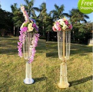 100cm Uzun Akrilik Kristal Düğün Centrepiece Yol Kurşun Standı yemeği partisi Masa Dekorasyon Şamdan