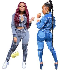 Donne Jeans Giacca 2 pezzi Set Cardigan Legging Outfits S-2XL Felpe con pannelli Denim pannelli Casual Fall Abbigliamento invernale Abbigliamento Jogger Suits 3676