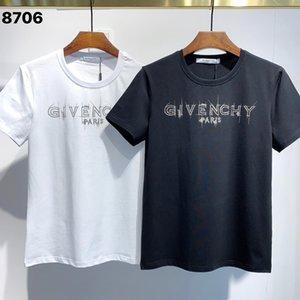 Venta caliente GIV letra 'diseñador de los hombres T Shirts # 001 verano la moda de París 4G patrón' Lujos estilista Casual Imprimir Delgado Hip Hop Tees BB
