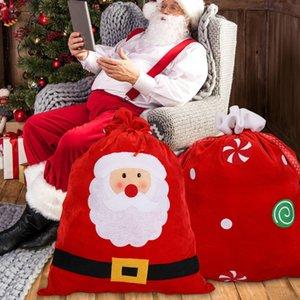 Санта Velvet Present мешок Xmas Новый год Дети Подарочные конфеты сумка для хранения Дети Подарочные мешки Drawstring DHD751