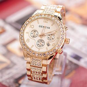 High-End Pequeño Comercio al por mayor de estilo europeo diamante Conjunto con el calendario de acero del reloj digital en tres ojo luminoso aguja de diamante de los hombres y las mujeres del reloj
