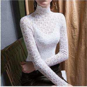 Web Celebrity Otoño Invierno Undershirt diseño del estilo de las mujeres mismo estilo de lujo Cuello alto temperamento atractivo del cordón Micro a través de largos Slee