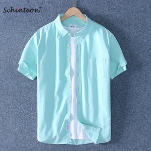 Schinteon Men Summer 100% Cotton Shirt Oxford Short sleeved Smart Casual Slim Shirt Turn-down Collar Brand New Arrival 200925