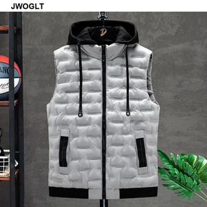 Ropa para Hombres chaqueta del chaleco sin mangas otoño caliente chaqueta masculina casual de invierno Negro chaleco chaleco de los hombres del sombrero Veste Homme 4XL 5XL