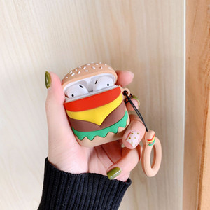 3D Hamburger Chips Case for Airpods Air Pods 1 2 3 Pro Earphone Protective Soft Silicon Cartoon Cute Cover Headset Accessories