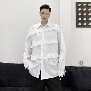 Masculino Mujeres Japón Streetwear Moda Vintage Camisa Pareja Hombres Folds empalme flojo ocasional de la camisa de manga larga