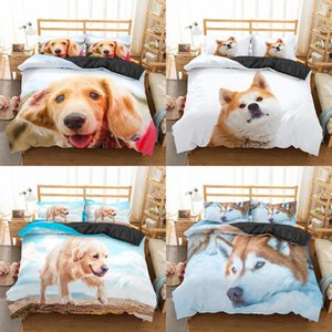 Homesky Dog Bedding 3D Set de luxe Housse de couette Reine King Size Belle Chiens Literie Linge de maison Housse de couette Couvre-lits
