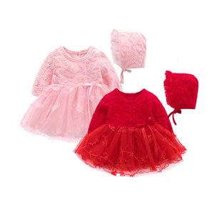 Clearance New Autumn Infant Baby Kids Girls Party Lace Princess Dress Clothes Outfits dress+hat 0116