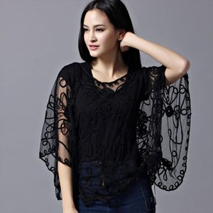 Summer Casual Loose Oversized Thin Mesh Embroidery Floral Batwing Cloak Cape See Through Lace Poncho Jacket Feminino