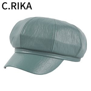 Autumn Winter Fashion Vintage PU Leather Women Beret Hat Female Girls Outdoor Berets Casual Dome Octagonal Hat Painter Boina