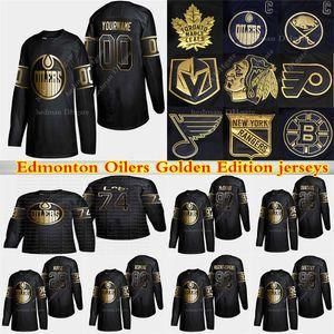 Edmonton Oilers de Ouro Edição jerseys 97 Connor McDavid 74 Ethan Urso 29 Draisaitl 99 Gretzky Personalizar qualquer número qualquer jérsei conhecido hóquei