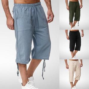 Erkek pantolon keten erkek kargo şort 2021 marka taktik erkekler pamuk gevşek iş rahat kısa artı boyutu