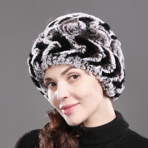 Brand Women Natural Rex Fur Hats Knitted Striped Genuine Rex Fur Beanies Cap Winter Warm Flowers Skullies Hat