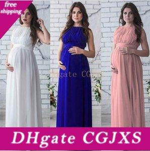 Enceinte robe de maternité Photographie Robe sans manches en mousseline de soie femmes grossesse robe longue M296