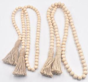 Perles en Bois Garland ferme rustique Perles prière Perles Tenture décoration 14 mm 16 mm Tassel Perle chaîne KKA8007