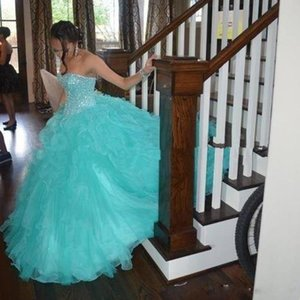 Shiny Beaded Prom Ball Gown Quinceanera Gowns Light Sky Blue Sweet 16 Quinceanera Dresses Sexy Sweetheart Long Ruffles Quinceanera Dress