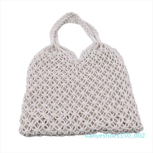 Fashion Hollow Straw Bag Woven Bag Forest Cotton Fabric Female Mesh Weaving Tie Buckle Reticulate Net Shoulder Beach Holiday k02