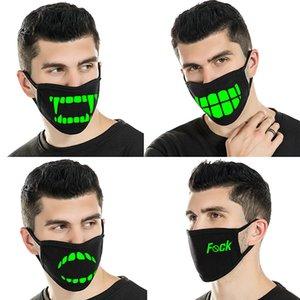 atacado Black Mask Cartoon Rosto Dentes engraçados Punk Luminous Santo máscara de caveira Anti- Poeira Inverno Cubre Bocas Hombre Cotton Mouth