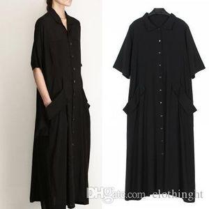 cloth Chicever 2019 Elegant Black Women Summer Dress Shirt Short Sleeve Loose Big Size Pocket Women's Dresses Clothes Fashion Casual