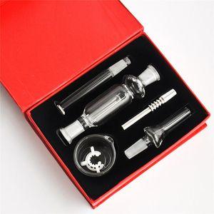 Günstigste Dab Stroh Bohrinseln Glas NC Kit mit 10mm Edelstahl-Spitze und Clip Wachs Schüssel für Wasserrohr Handgröße Glas Ölbrennerrohr