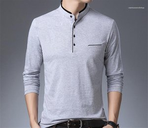 Length Pure Color Tops Homme Stand Collar Long Sleeve Tees Mens Panelled Button Tshirts Mens Regular