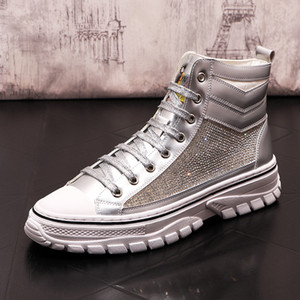 luxury designer Men shining rhinestone Gold high tops Causal flat platform prom shoes rock Loafers Hip-hop sneakers ankle boot