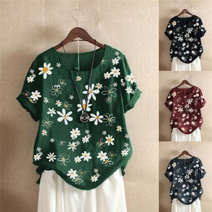 Ladies Shirts Fashion Female Pullover Blouses Floral Print Designer Contrast Color Womens Clothing Short Sleeve Crew Neck