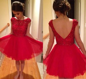 2021 Cap Sleeves Short Homecoming Dresses Crystal Beaded Pleated Tulle White Red Short Prom Dresses Graduation Sweet 16 Dresses